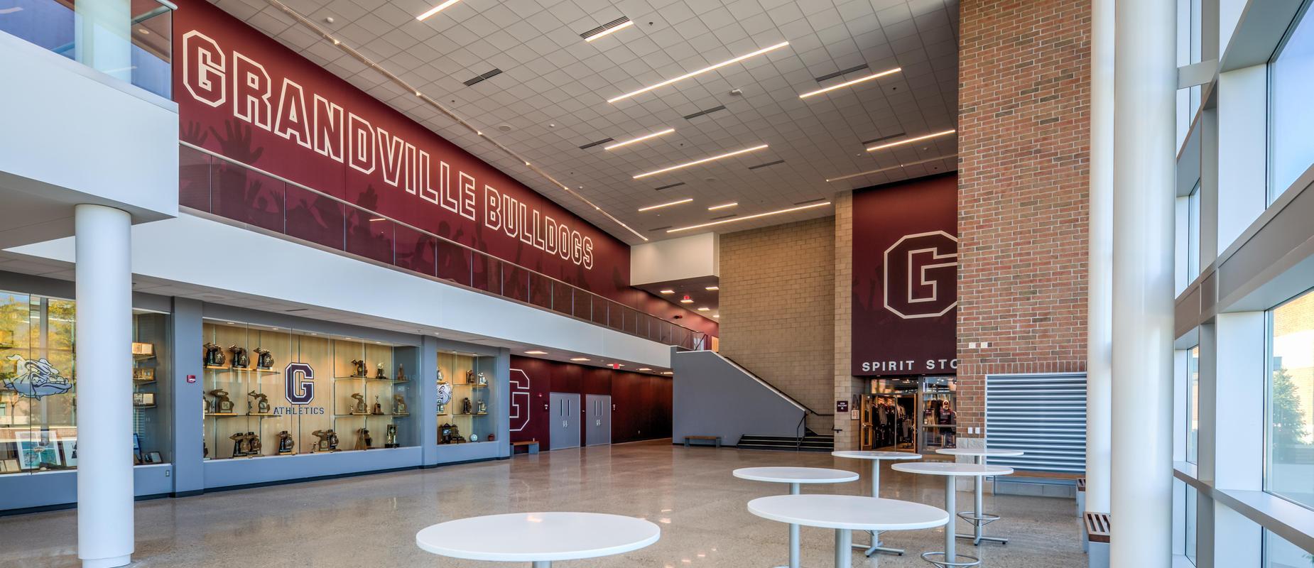 Grandville athletics entrance and spirit store