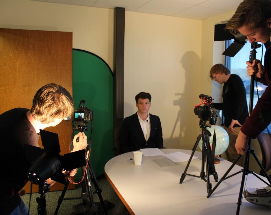 Video Production students film a talk show/comedy.
