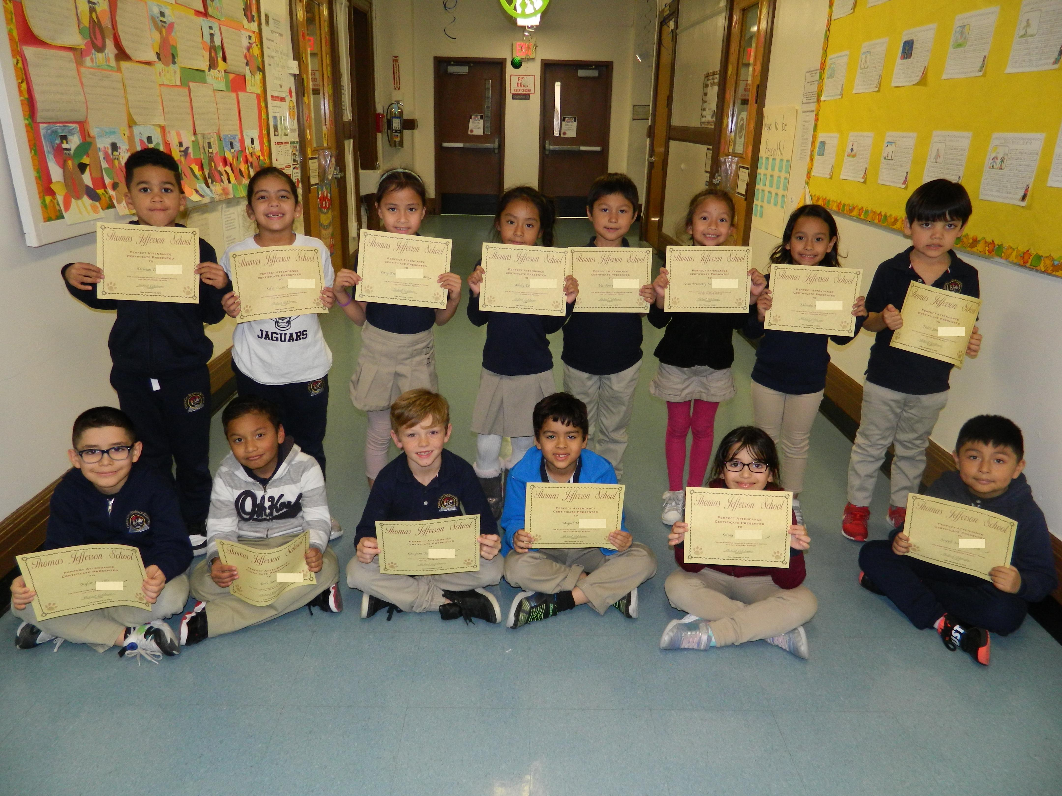 1st Grade Perfect Attendance Group