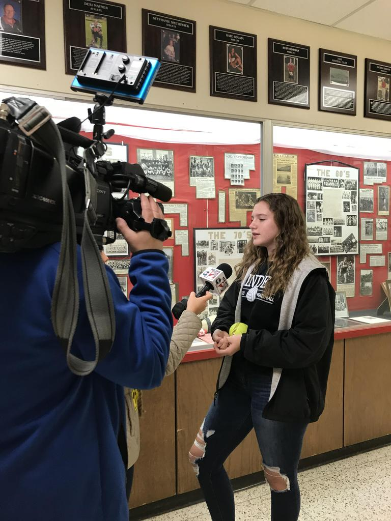 Student being interviewed by ABC12 News