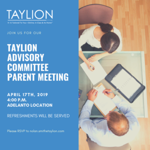 Taylion Advisory Committee Parent Meeting Flyer