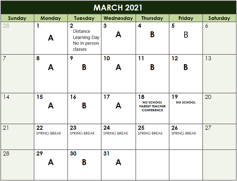 Calendar of A/B Days
