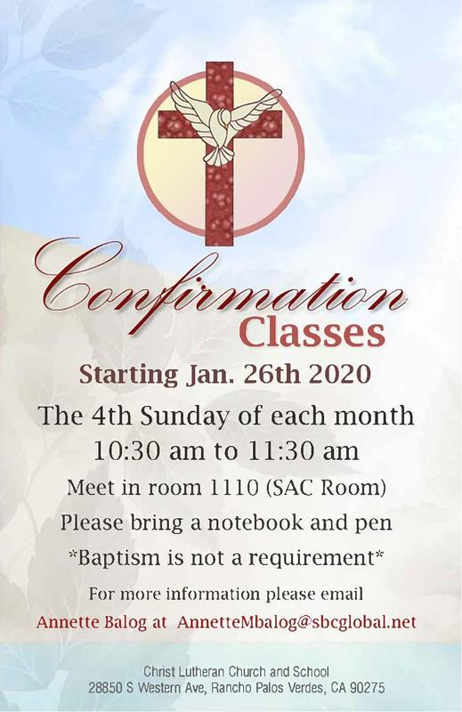 Confirmation Classes Starting January 2020 Featured Photo