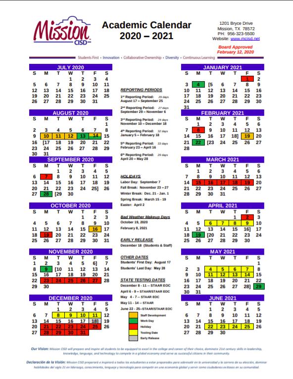 2020-2021 MCISD School Calendar Featured Photo