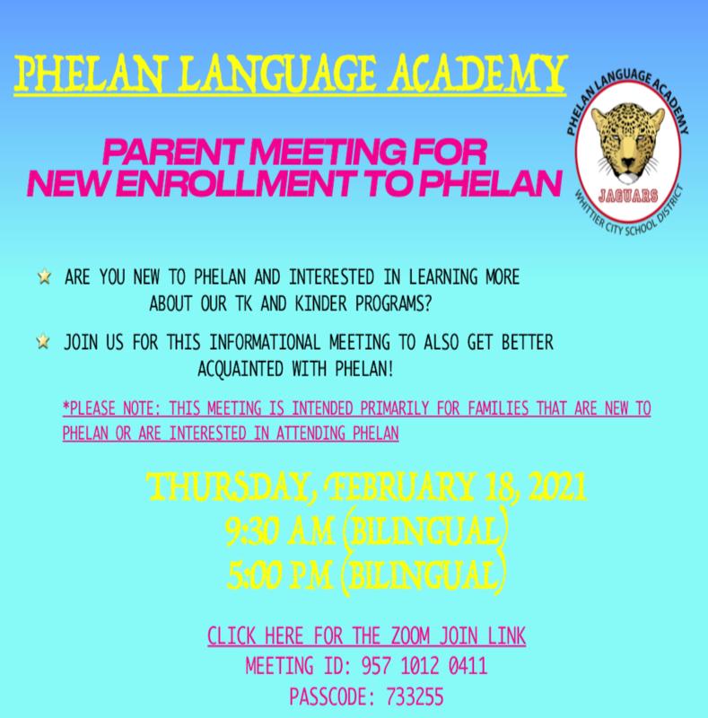 Flyer for Phelan New Enrollment Meetings