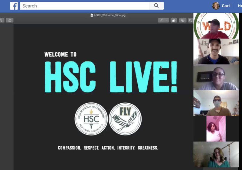 Screenshot of HSC Live slide and people on a zoom call