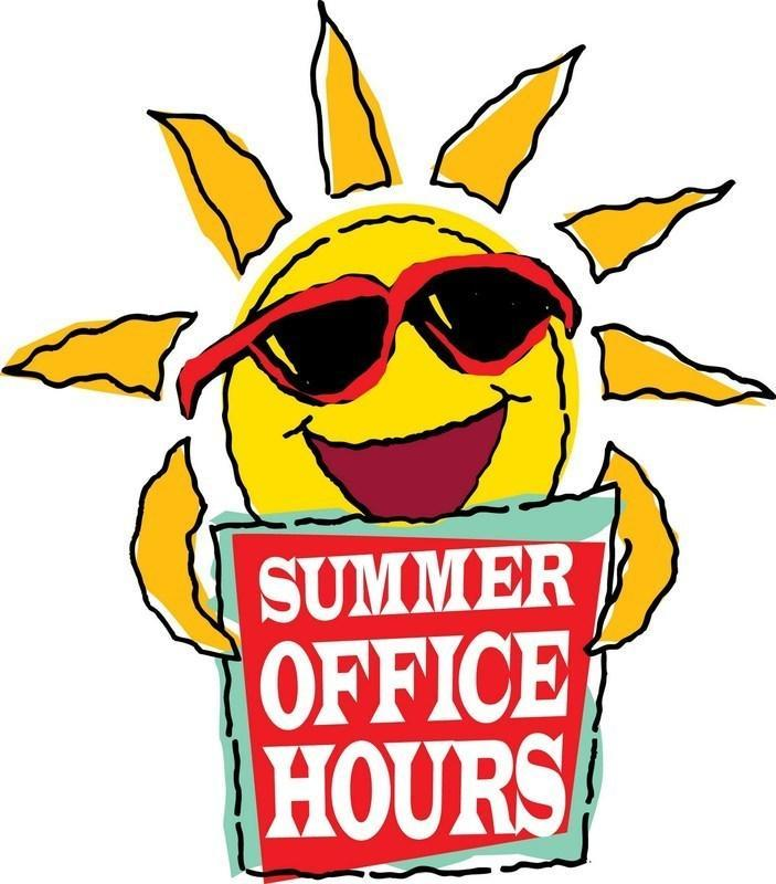 Picture of the sun holding a summer office hours sign