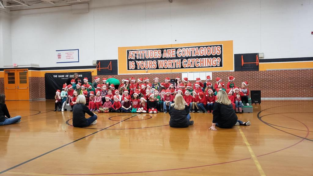 photo of 1st Grade students during Christmas Carols performance