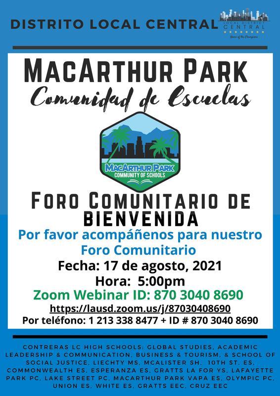 MarArthur Park Foro Comunitario De Bienvenida 17 de agosto @5PM Featured Photo