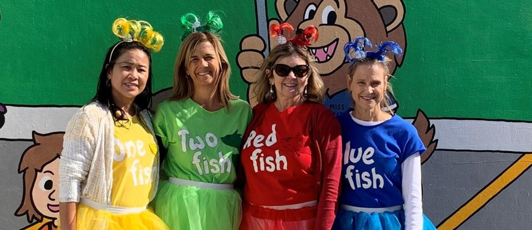 TEACHERS DRESSED UP AS FISH FROM DR.SEUSS BOOK