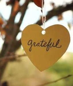 Wooden Heart hanging from a tree that says grateful.