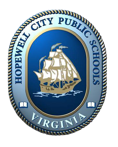 the image is of the HCPS logo: a boat in a oval crest, with a blue background. the words hopewell city public schools round the crest and the outline looks like rope.