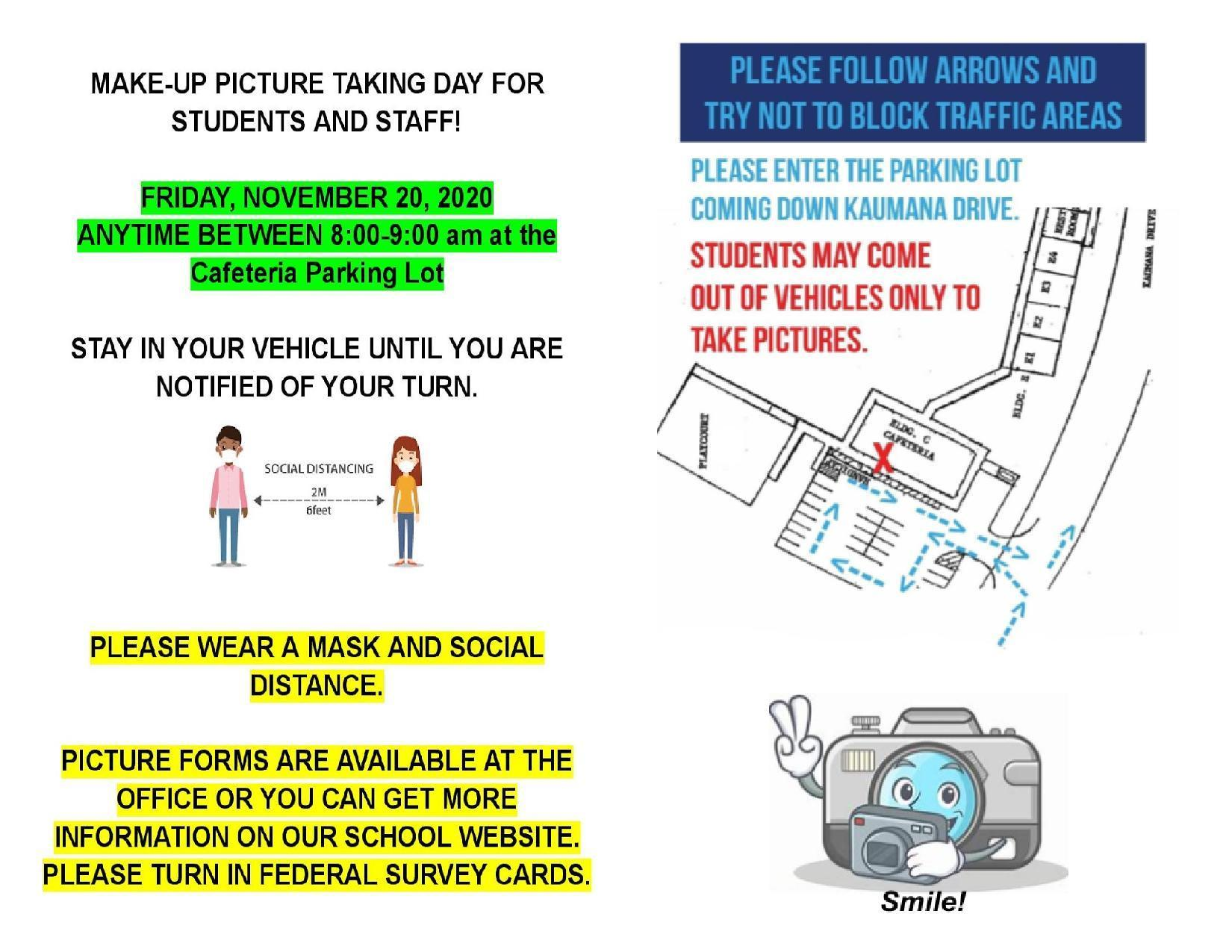 Make Up Picture Taking Day will be on Friday, November 20