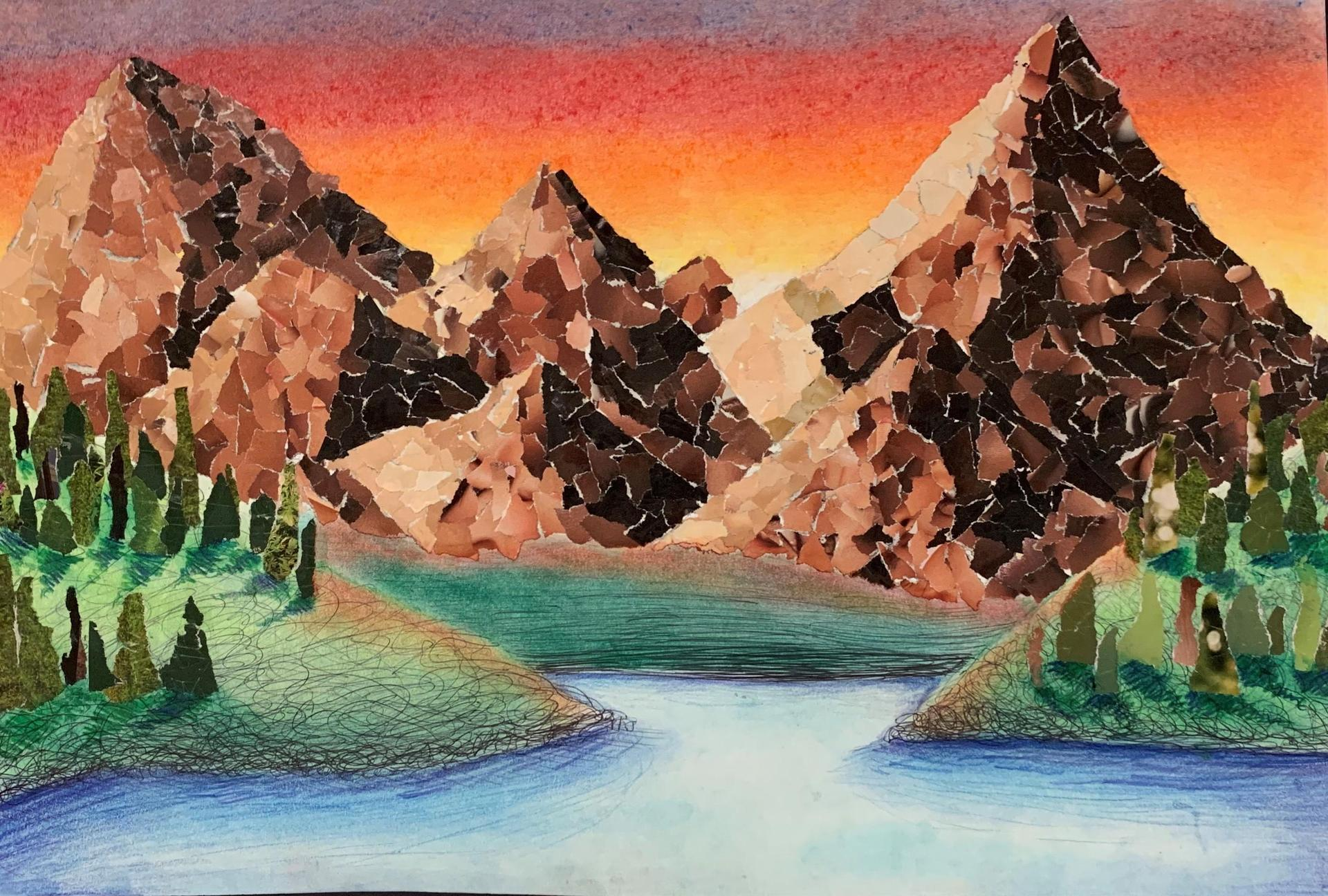 Painting of Mountains and Lake