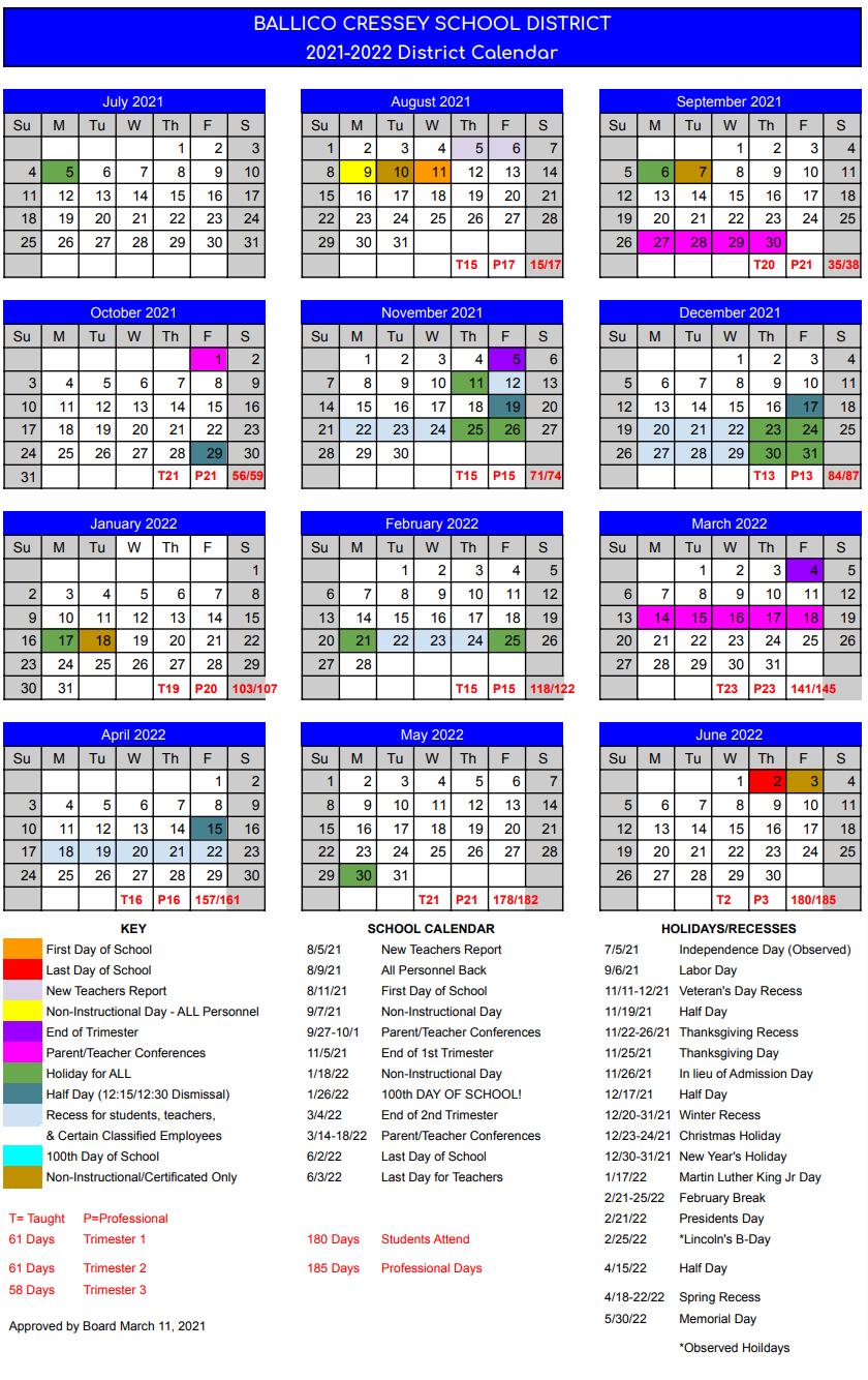 Calendar 21 - 22