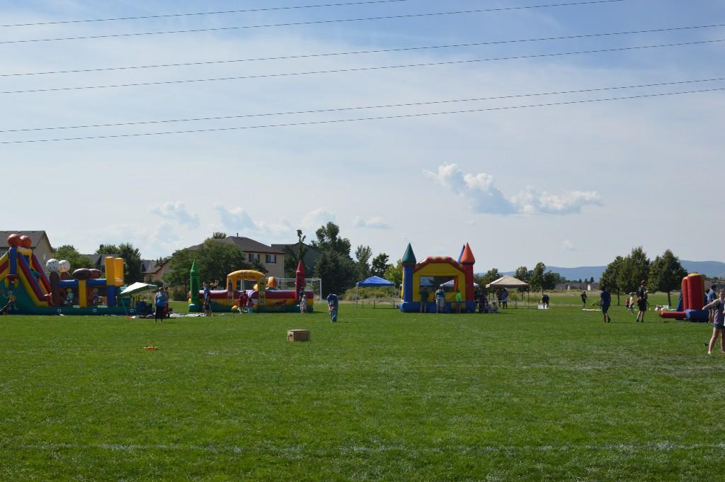 Bouncy houses at the Blast Off event.