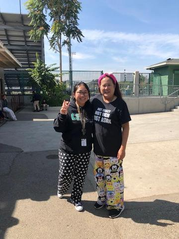 Ms. Mai and Dr. Chan showing off their pajamas for Spirit Week.