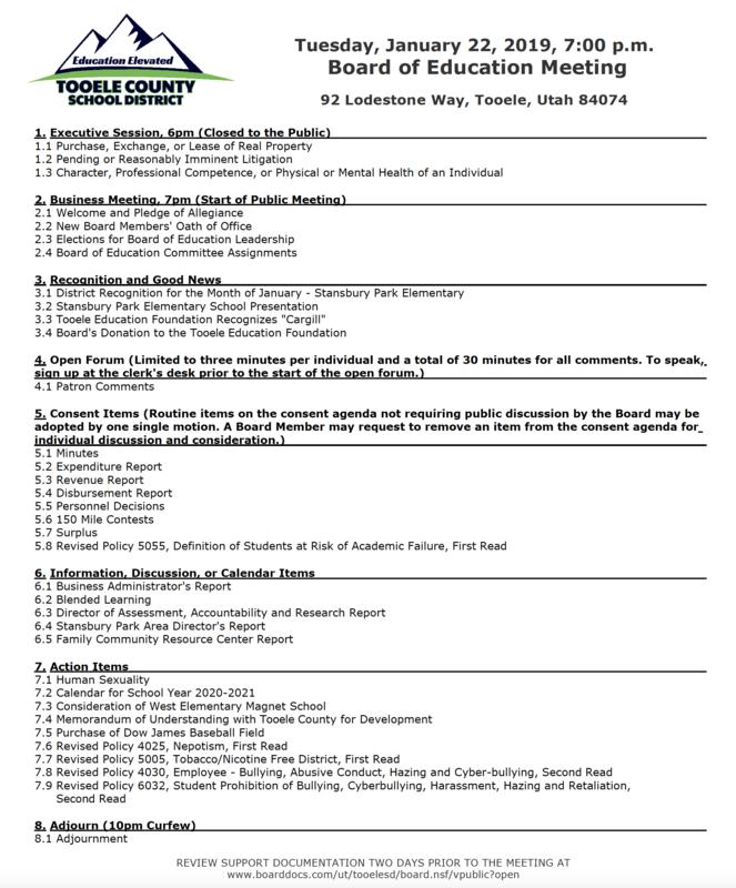 Board of Education meeting agenda Jan. 22