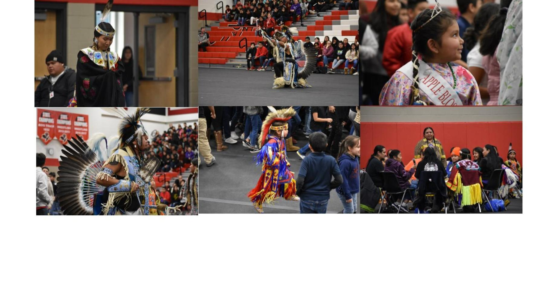 The annual pow wow held at the high school.  There are pictures of students dancing.