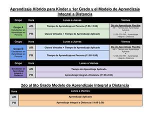 Kinder and first grade hybrid model Spanish