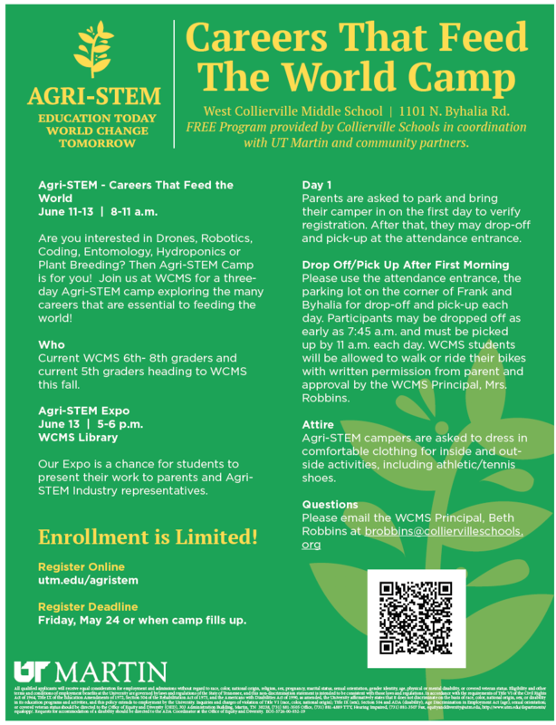 Check it out... AGRI-STEM Careers that Feed the World Camp at WCMS & CMS! Featured Photo