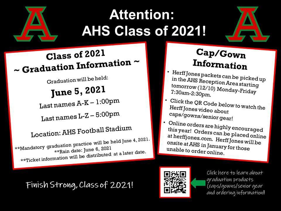 AHS 2021 graduation informaiton