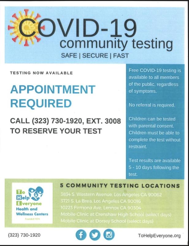 English flyer for free COVID-19 testing