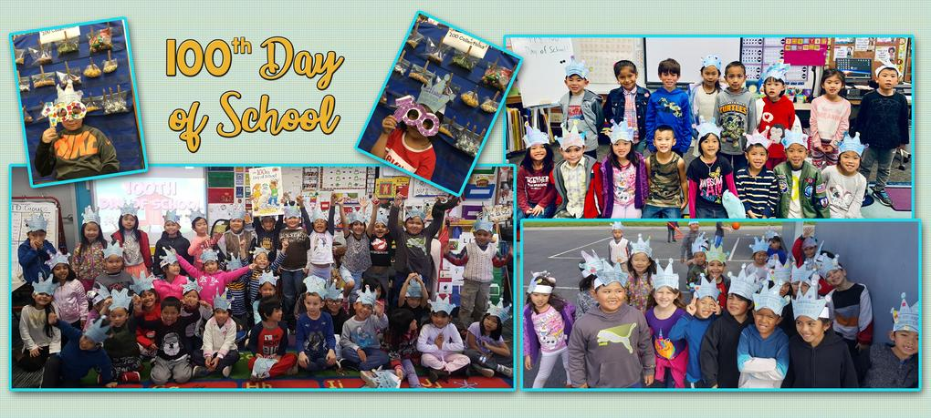Kindergarteners celebrate their 100th day in school.