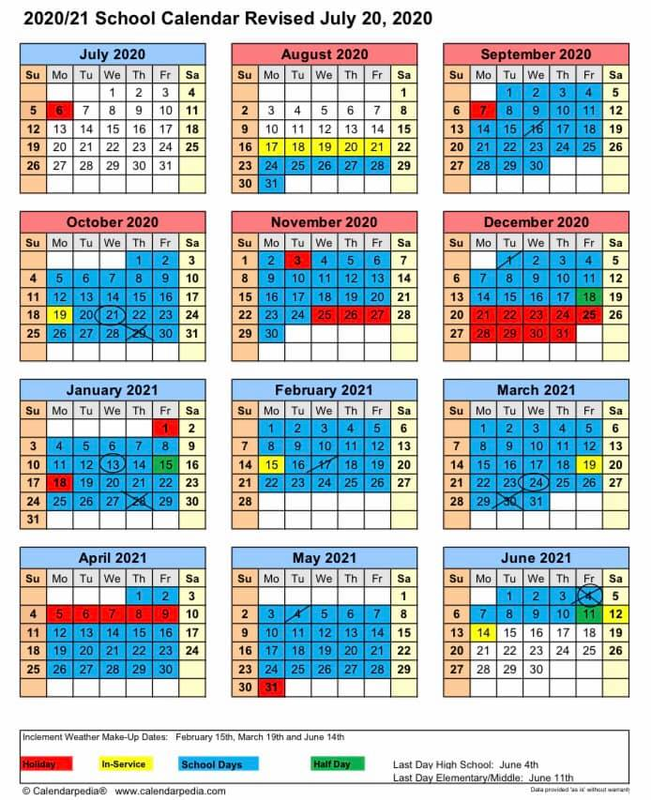 Revised 2020-2021 School Calendar Featured Photo