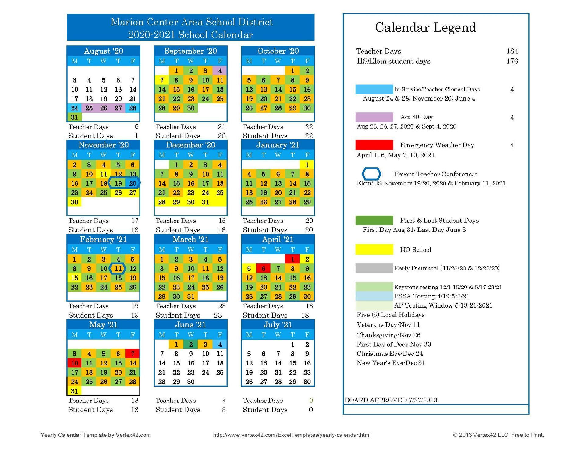 2020-21 Approved School Calendar