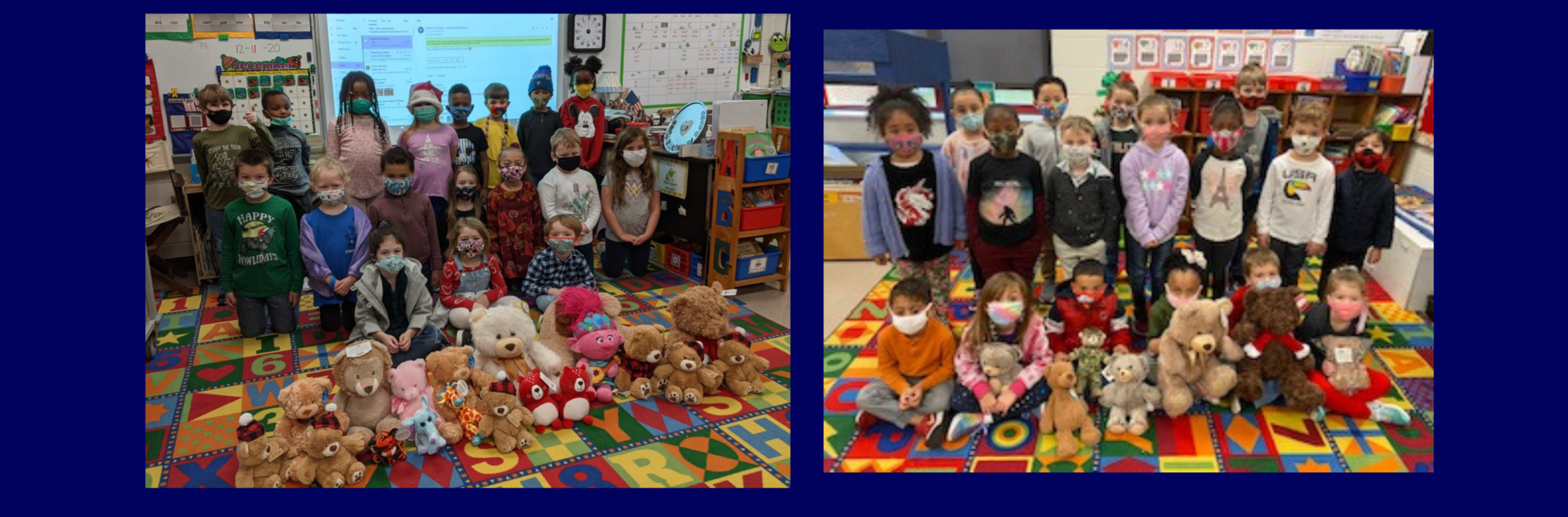 students holding stuffed animals smiling
