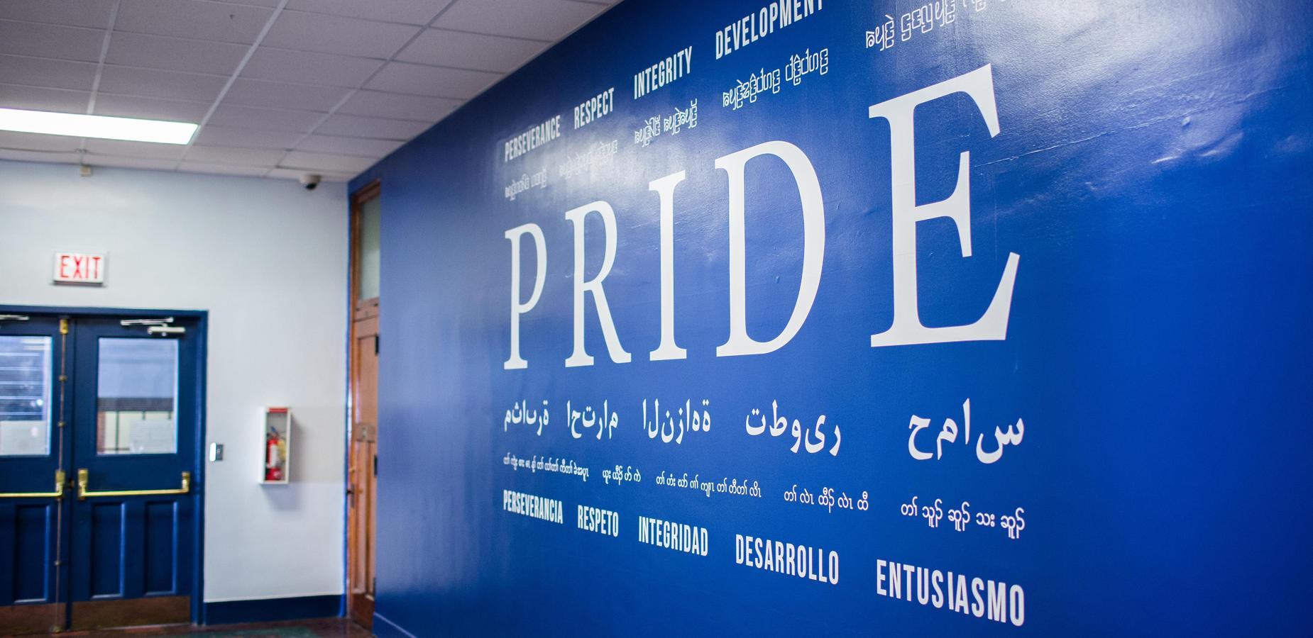 PRIDE wall at St. Paul campus