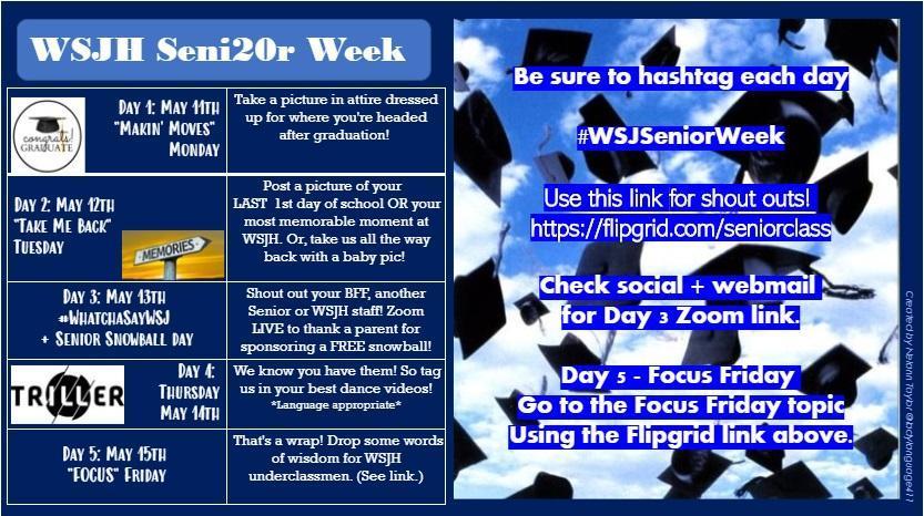 WSJH Senior Week Flyer