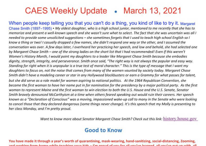 Screenshot of March 13 Weekly Update