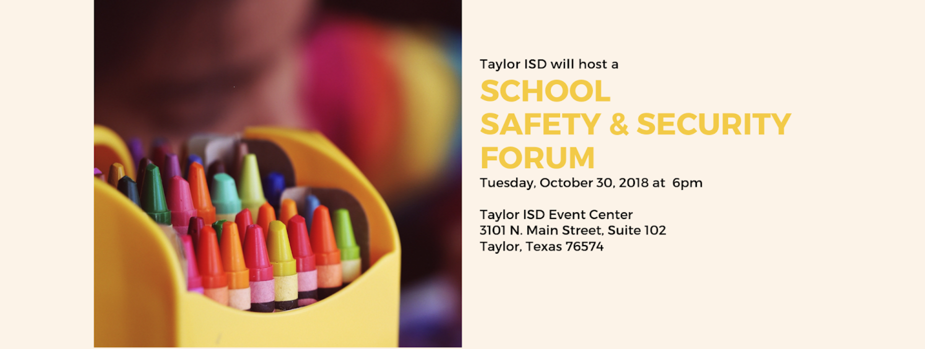 saftey forum date October 30th at 6pm
