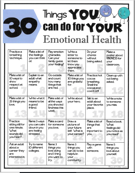 30 Things for Emotional Health