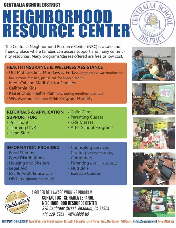 NRC Flyer with list of services offered