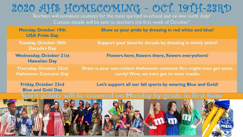 Homecoming Themes Calendar