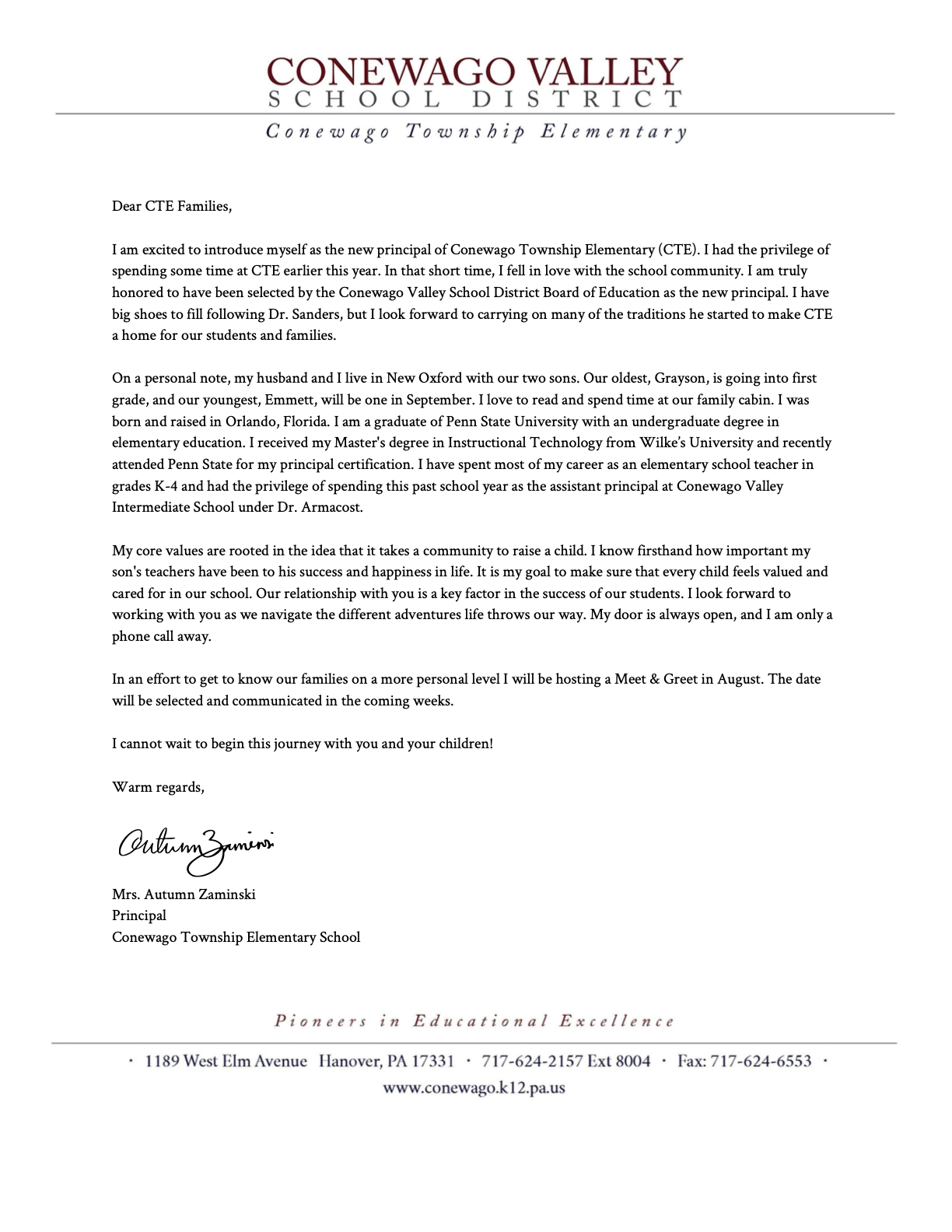 Letter to CTE