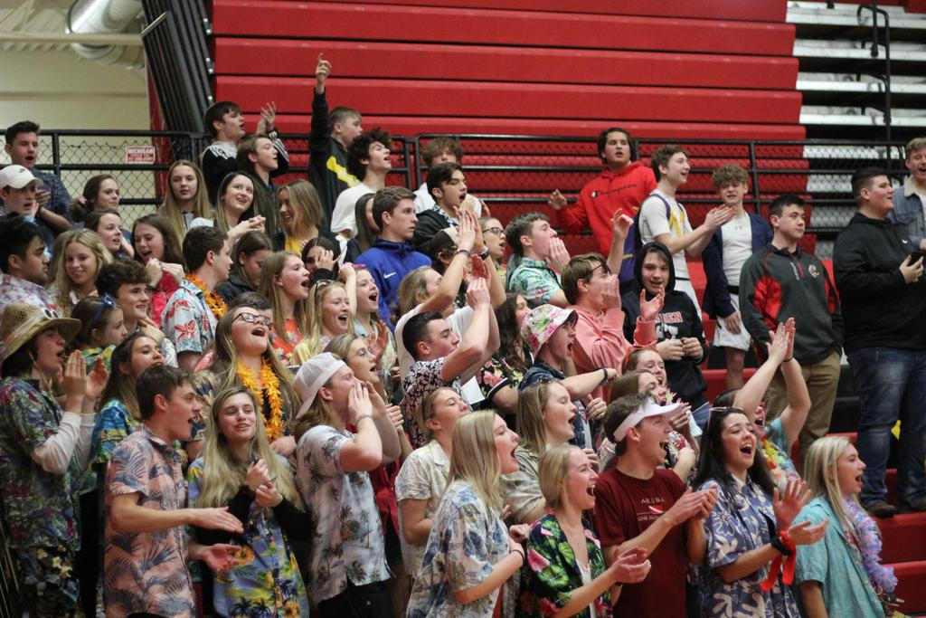 Students cheering at a basketball game dressed in tropical print shirts