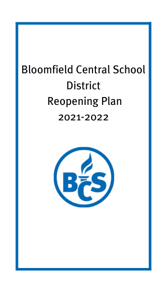 Bloomfield Central School District Reopening Plan with district logo