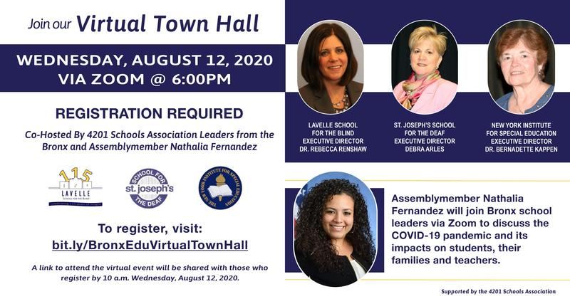 Assemblymember Nathalia Fernandez will join Bronx school leaders to discuss the COVID-19 pandemic and its impacts on students, their families, and teachers. WEDNESDAY, AUGUST 12, 2020 VIA ZOOM @ 6:00PM