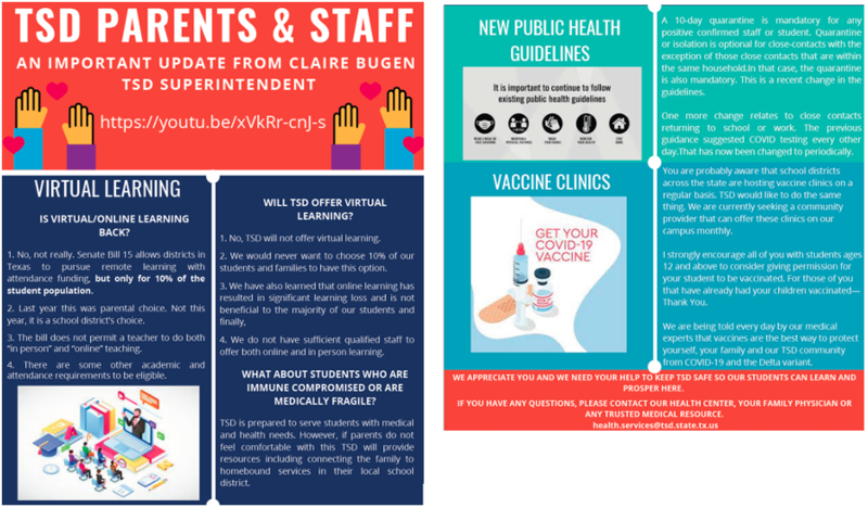 Superintendent Message: Important Update Regarding Virtual Learning, Health Guidance, and Vaccine Clinics Featured Photo