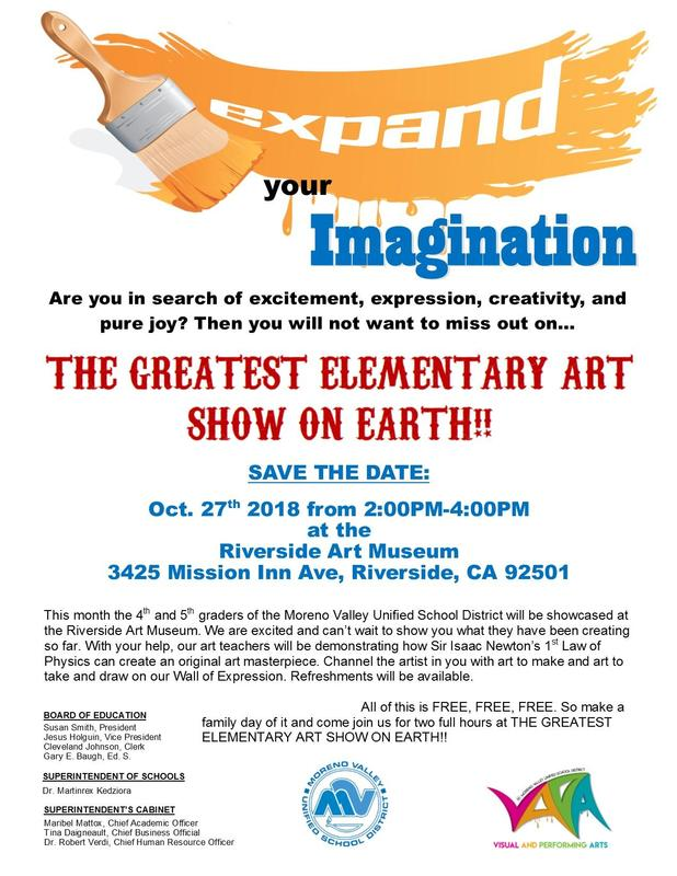 Flyer for the Elementary Art Exhibit October 27th 2-4 pm at the Riverside Art Museum