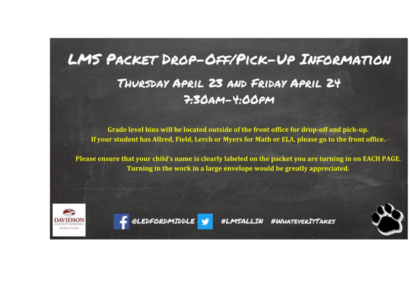 LMS Packet Drop-Off/Pick-up Information