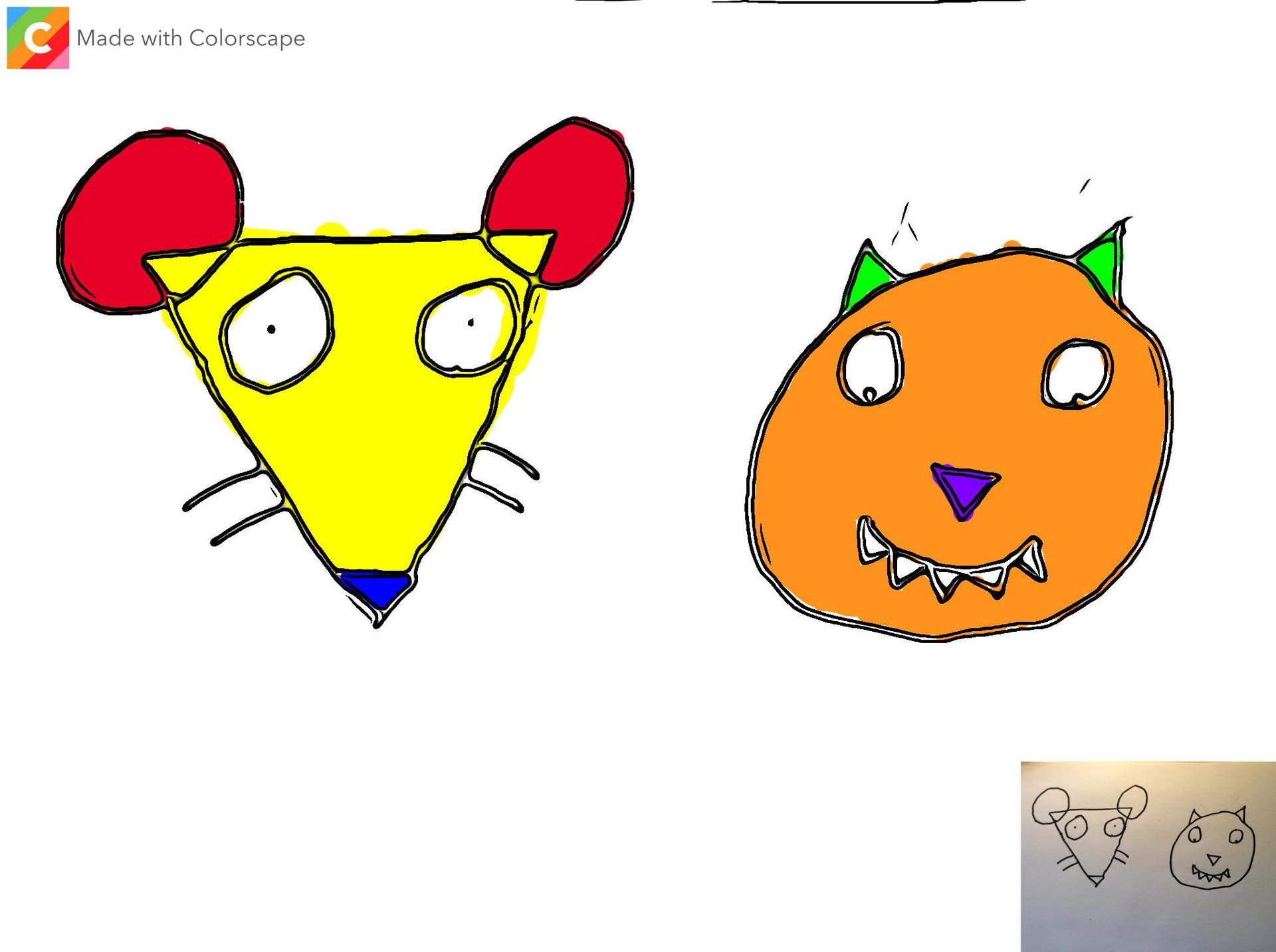 Kindergarten digital art - Cat and Mouse made out of shapes