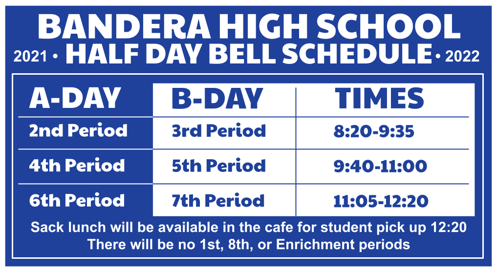 1/2 day Bell Schedule
