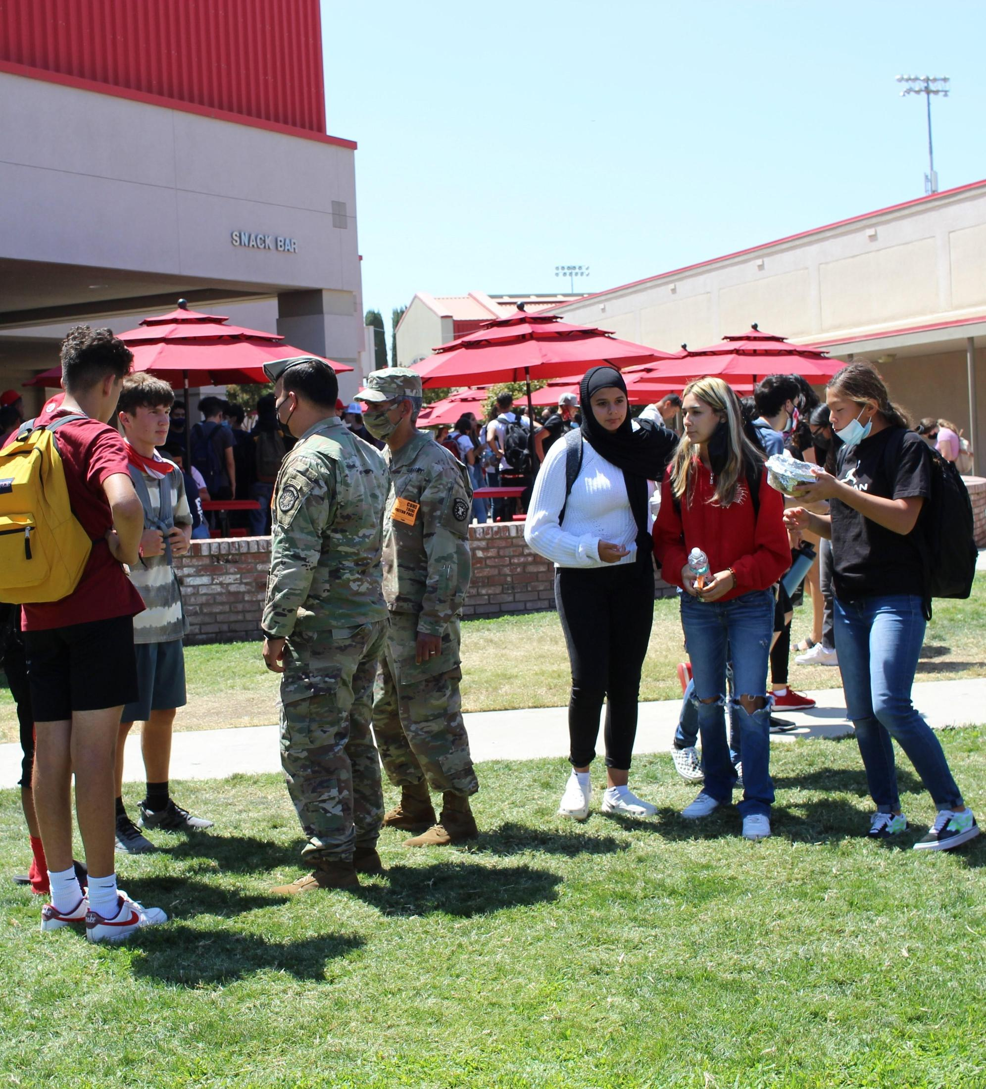 students and staff finding out about clubs during lunch