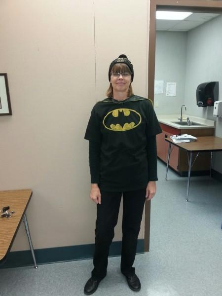 Teacher dressed as Hero