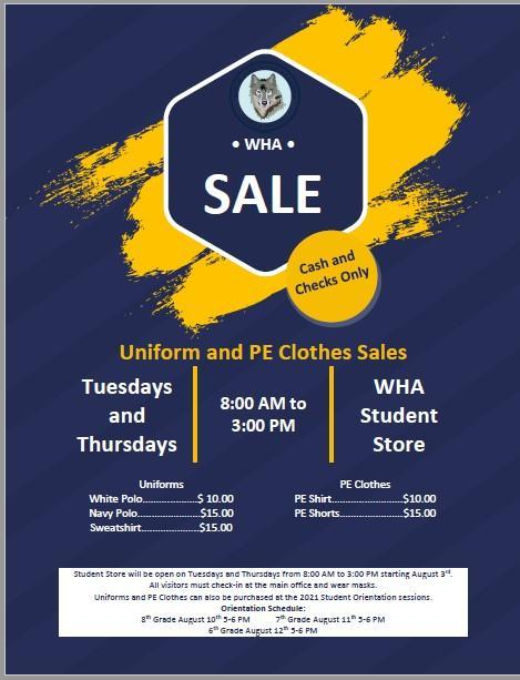 WHA Uniform and PE Clothes Sales Featured Photo